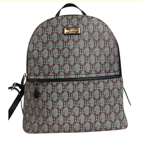 6e7f77145d9c4 LAUREN RALPH LAUREN HELSTON Backpack PurseBlackRed